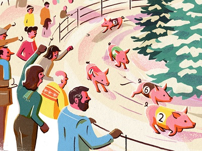 New Year Traditions: Switzerland pig race snow crowd switzerland new year