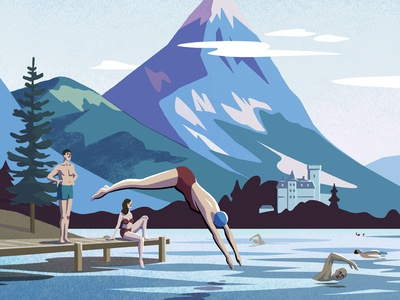 The Best Things In Life Are Free mountain castle alpine lake swimming wildswimming frenchalps lakeannecy bookillustration lonelyplanet