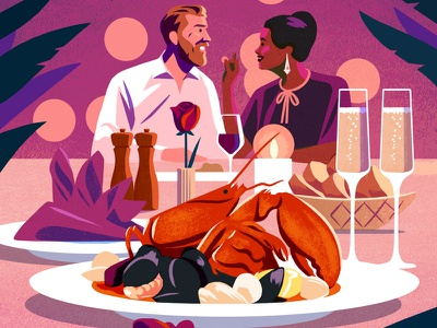 Valentines restaurant champagne rose aphrodisiac oysters lobster tablebookings opentable tablefortwo hote date illustration