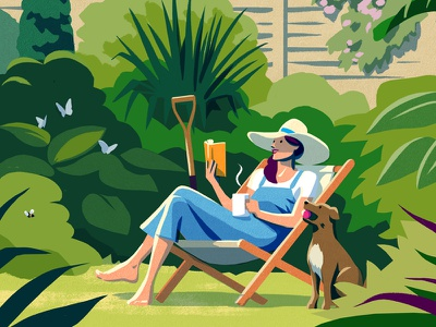 The Guardian (Crop) butterlfies gardening dog green garden reading books summerreading summer