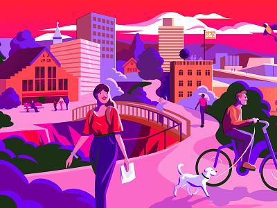 Bakken And Baeck dog cycling citibike travel cityguide oslo illustration