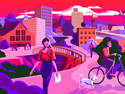 Bakken And Baeck dog cycling citibike travel cityguide oslo illustration
