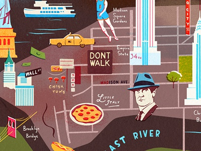 NYC new york map mad men wall street empire state pizza china town radio city little italy taxi