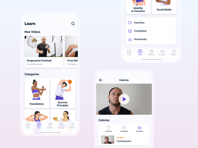Educational videos of body, training and nutrition minimal illustration appdesign ios interface videos ux ui app fitness