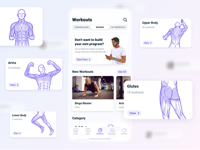 Workout Сategories program browse design flat body illustration ui app ios interface categories fitness workout app