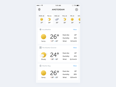 Weather App Concept debut ui mobile interface ios appdesign weather