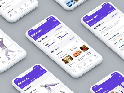 Redesign of fitness app sport workout fitness flat minimal appdesign interaction application app ios interface ui ux