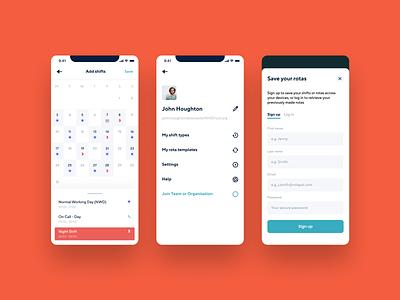 Doctor Shift Planner Calendar App UI mobile ui native mobile app work rota schedule healthcare management shifts doctor