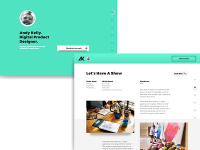 My personal portfolio website design responsive clever navigation colourful layout grid graphic portfolio web design