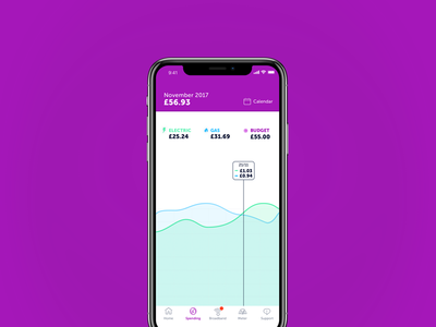 Energy Tracker iPhone X App UI iphone x graph pop vibrant colourful clever typography space negative ui app energy