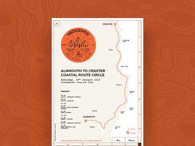 Hedgehog Walking Club Poster Series - 1 coast adventure hike space route clever badge sticker grid map stamp poster