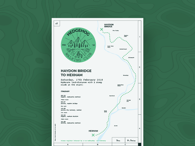 Hedgehog Walking Club Poster Series - 2 coast adventure hike negative space route clever badge sticker grid map stamp poster
