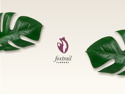 Foxtrail Flowers Brand Identity double meaning space negative clever simple animal logo plants floral flowers fox brand