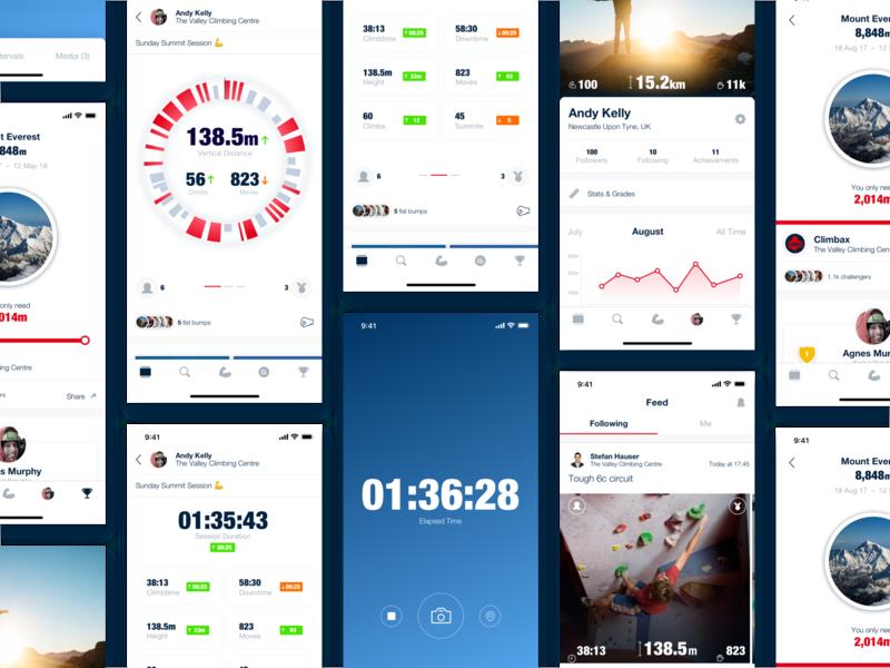Activity Tracking Analytics App sport data visualisation graphs tracker fitness climbing data iphone x ios app