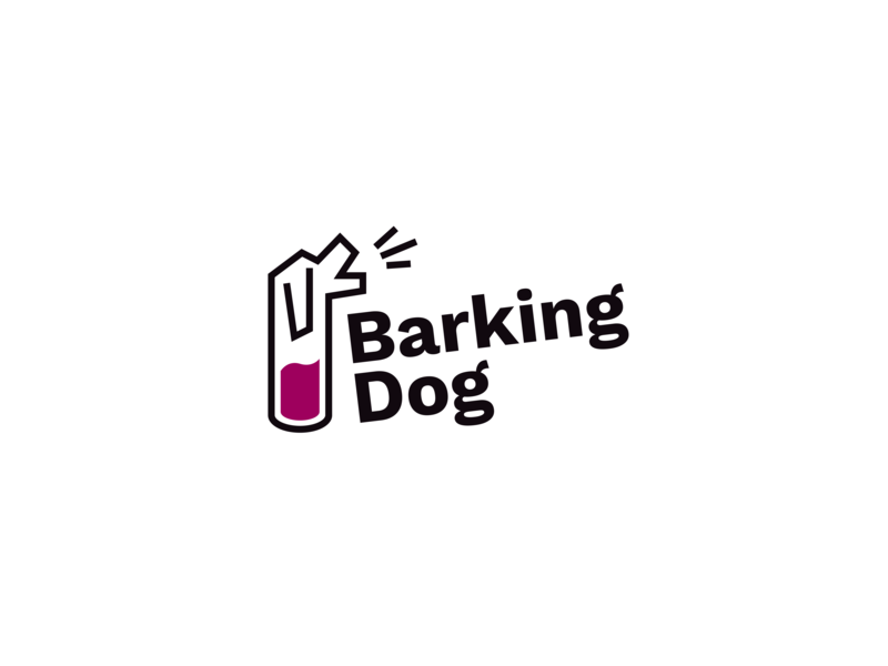 Barking Dog Winery Logo line pet fun playful clever cute puppy animal logo label wine pup dog barking