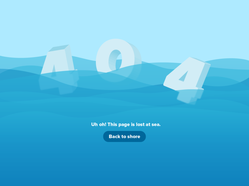 404 Page - Lost at Sea blue float floating ocean nautical sea 404 error page error 404 404 404 page