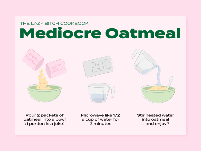 Mediocre Oatmeal Recipe Card - Lazy Bitch Cookbook oatmeal illustration recipe illustration recipe book recipe cookbook recipe app recipe card