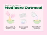 Mediocre Oatmeal Recipe Card - Lazy Bitch Cookbook
