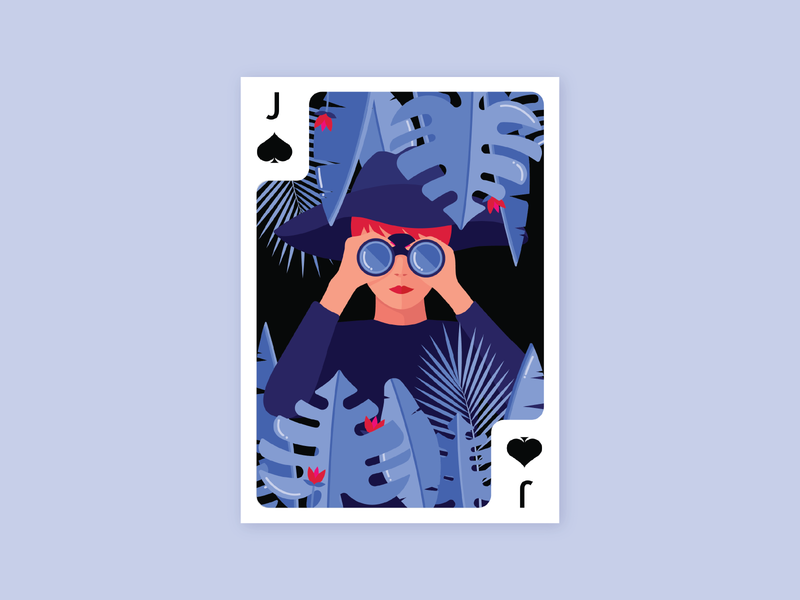 Jack of Spades – Jungle illustration binoculars monstera jungle playing cards playing card deck of cards jack of spades