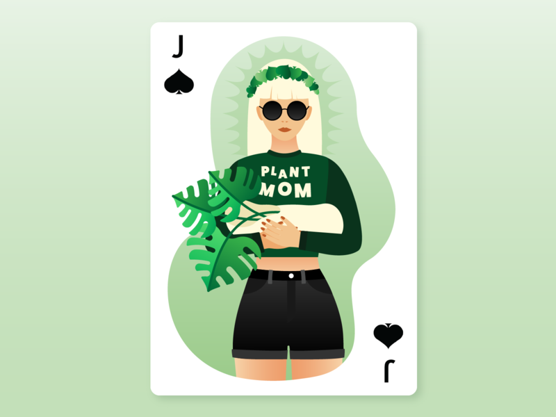 Plant Mom – Jack of Spades wild ducks madonna and child madonna plant mom plant plants spades spade jack of spades jack card deck deck of cards illustration
