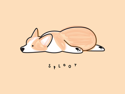 Corgi Sploot dog icon watercolor dog illustration dogs sploot pupper doggo doggy pup puppy dog corgi