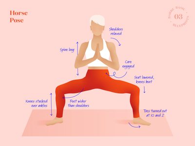 Barre Basic Blueprints – Horse Pose (03) instructions how to guide yoga horse pose workout exercise illustration blueprints basic blueprint pose posture barre