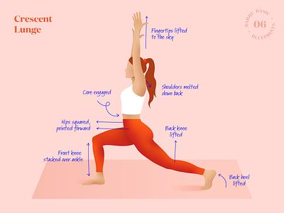 Barre Basic Blueprints – Crescent Lunge (06) crescent lunge blueprints blueprint basic instructions how to guide workout illustration yoga stretch exercise barre athlete