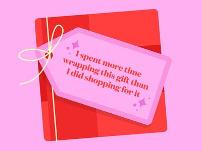 Honest Gift Tag weekly warmup dribbble weekly warmup illustration merry christmas happy holidays present christmas holiday gift box wrapping gift tag gift