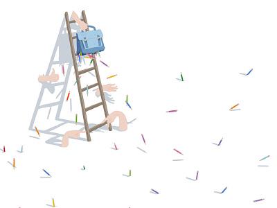 Creativity whitespace ladder hands school pencils design illustration