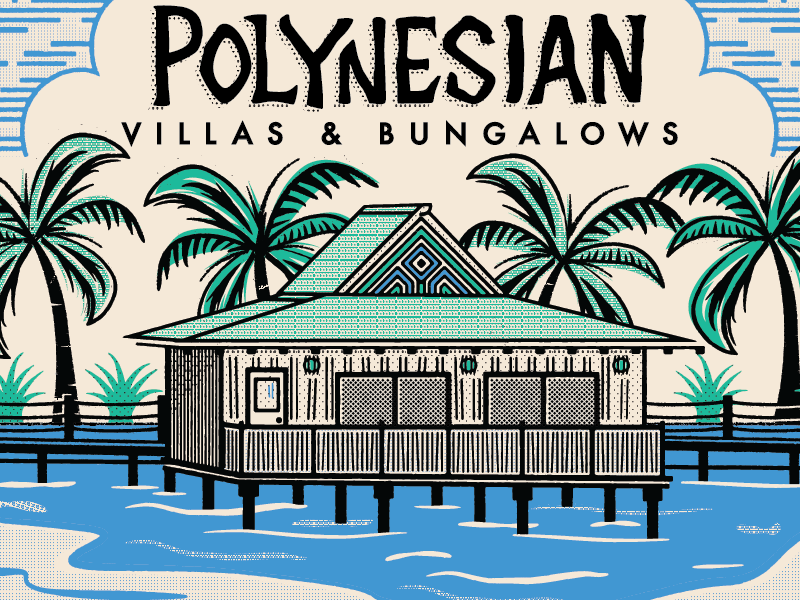 Polynesian halftone lettering illustration design illustrator vector texture vintage matchbook disney