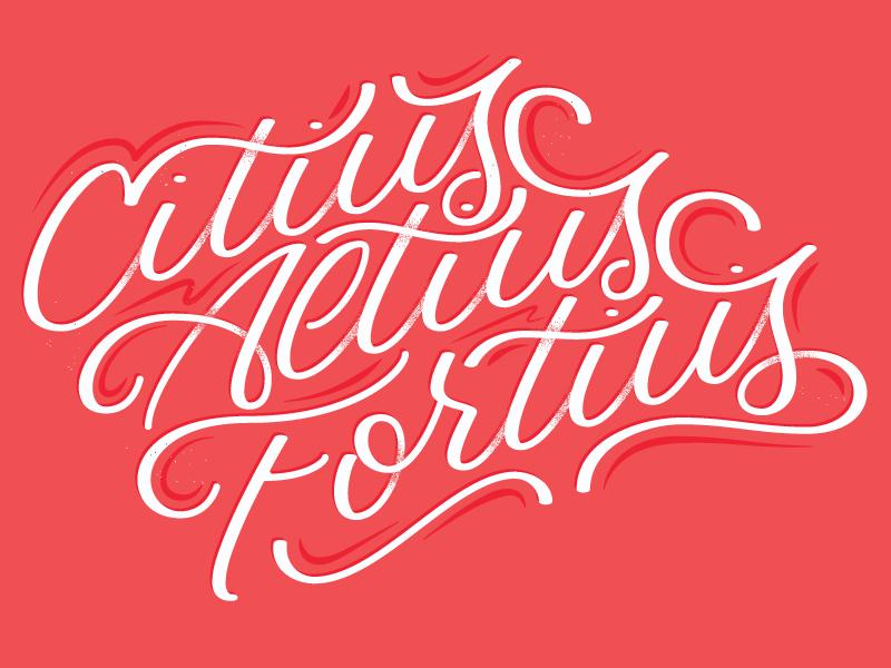 Faster, Higher, Stronger letter illustrator modern vintage texture vector lettering olympics
