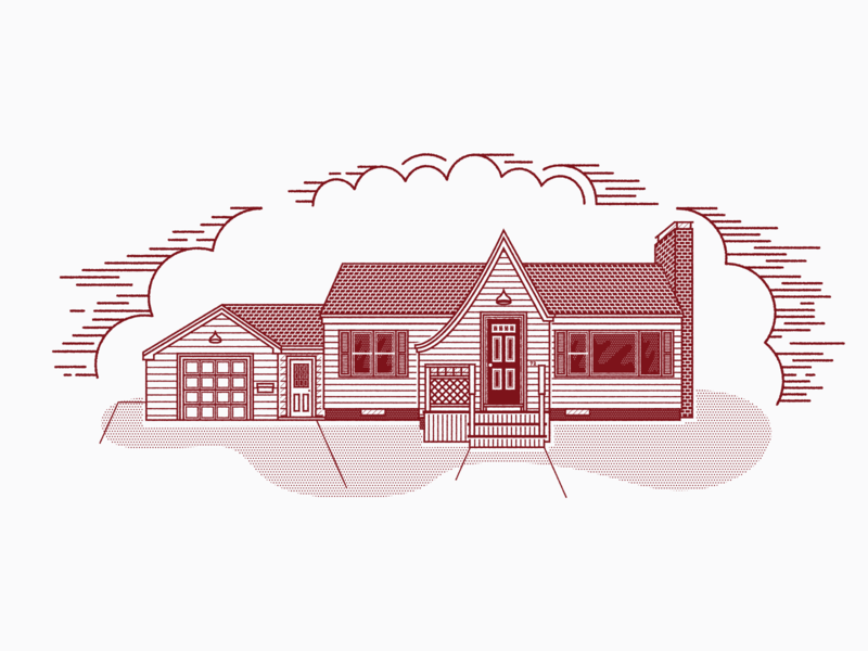 Stamped House architechture graphic design clean vintage texture vector illustration illustrator design