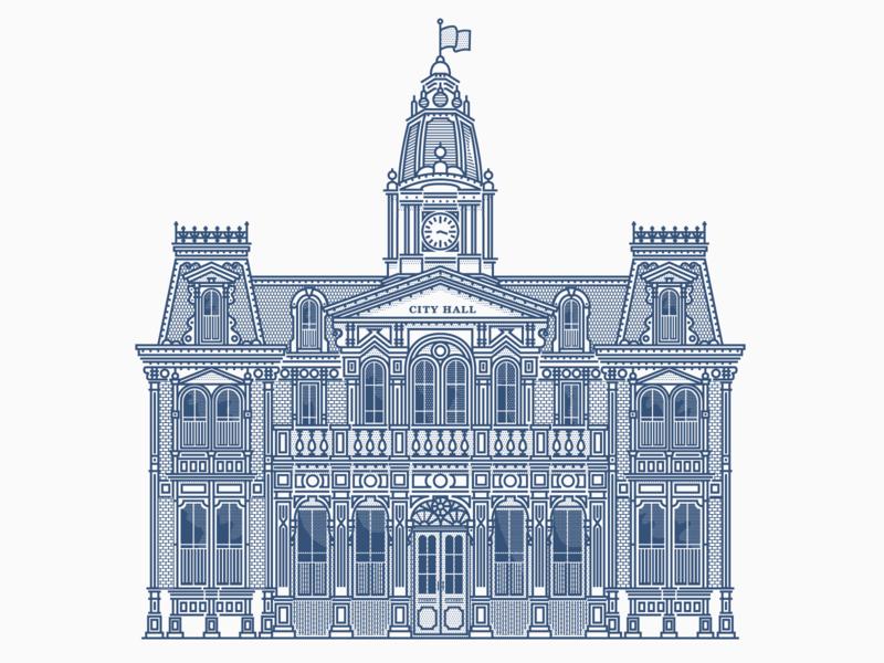 Town Square City Hall architectural design architecture graphic design disney clean vintage texture vector illustration illustrator design