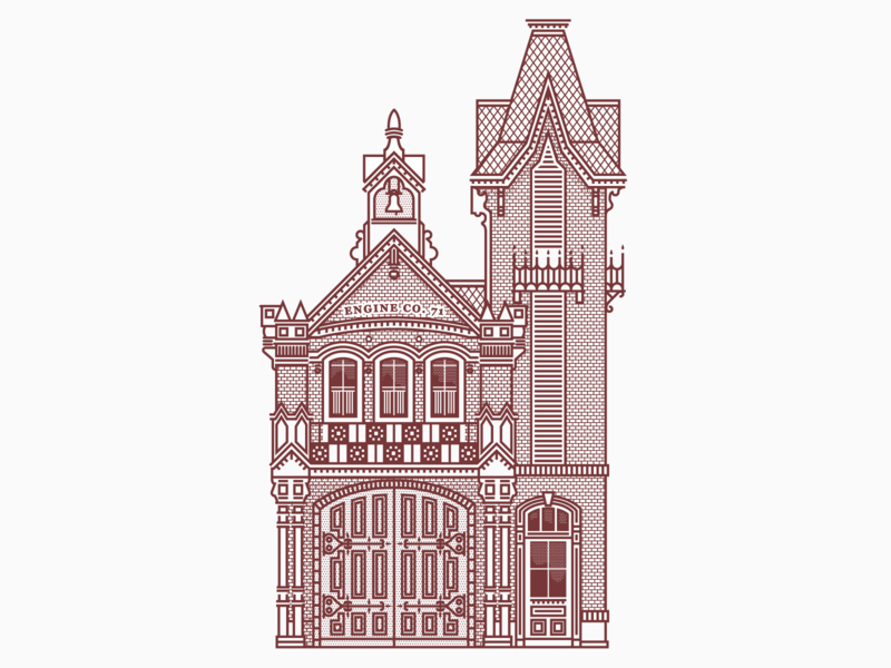 Town Square Fire House architectural design architechture graphic design disney clean vintage texture vector illustration illustrator design
