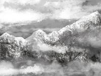 mountains quick brush, digital painting
