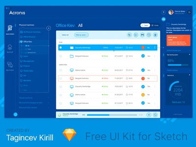 Acronis UI / UX (Free Sketch) sketch art cool free 2017 intefacem icon ux ui