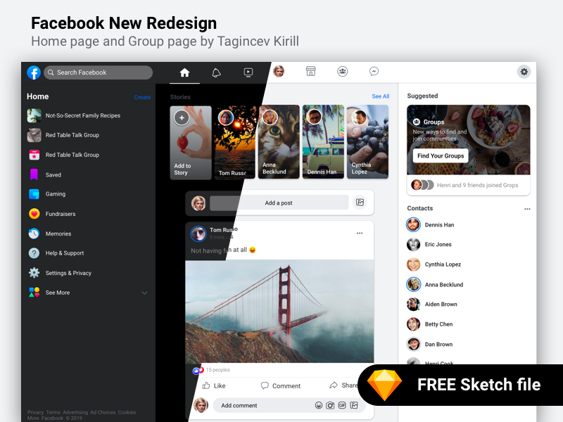 Facebook Redesign 2019 interface web redesign sketch free uiux ui 2019 facebook