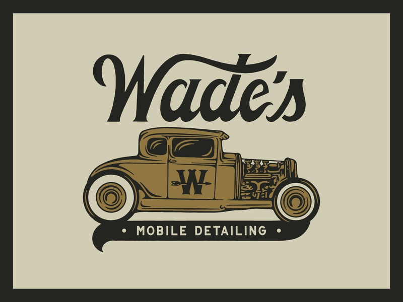 Wade's Mobile Detailing hand drawn branding hand lettering type lettering handmade drawing graphic design design illustration