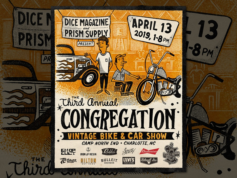 The Congregation Show 2019 chopper harley congregation hand lettering branding type lettering handmade drawing graphic design design illustration