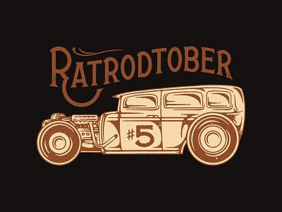 Ratrodtober #5 hot rod branding handmade type lettering drawing graphic design design illustration