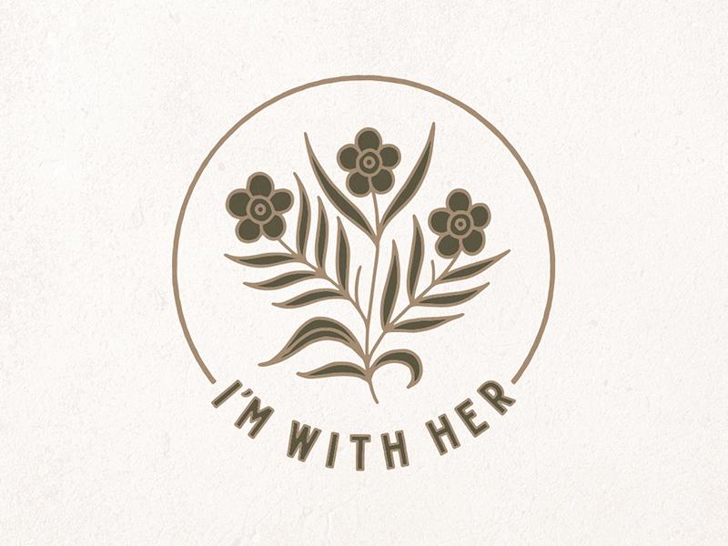 I'm With Her Sticker type lettering branding hand drawn illustration design