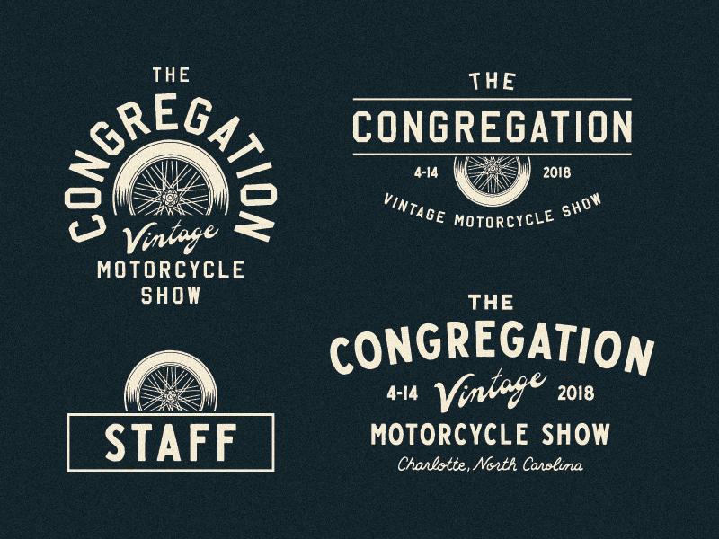 The Congregation 2018 north carolina charlotte hot rod chopper vintage motorcycle the congregation type lettering branding hand drawn illustration design