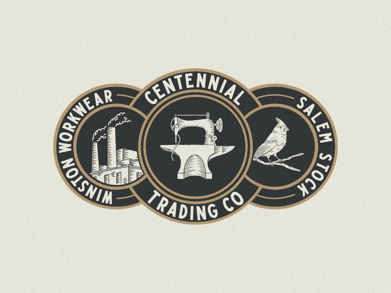 Centennial Trading Co. Group Logo centennial trading company north carolina type lettering branding hand drawn illustration design