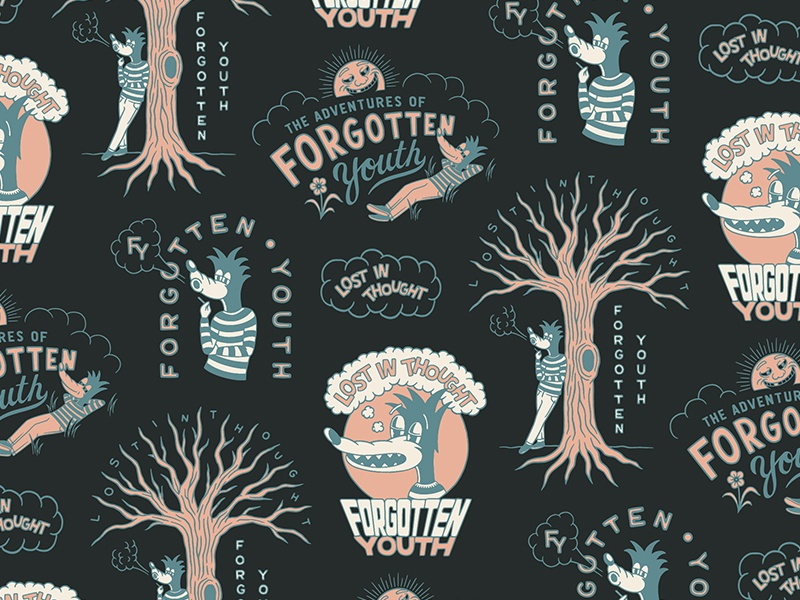 'The Adventures of Forgotten Youth' apparel lost in thought forgotten youth type lettering branding hand drawn illustration design