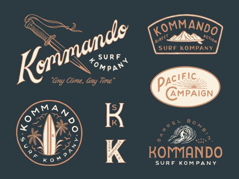 Kommando Surf Kompany apparel surf kommando type lettering branding hand drawn illustration design