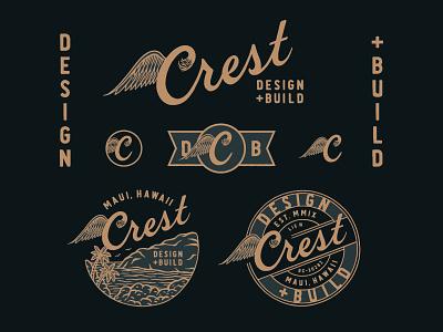 Crest Design + Build typography logo hand drawn hand lettering branding lettering type handmade drawing graphic design design illustration