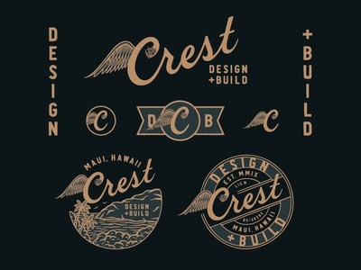 Crest Design + Build typography logo hand drawn hand lettering branding lettering type handmade drawing graphic design design illustration