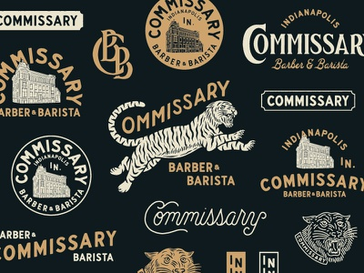 Commissary Barber & Barista (2) typography vector logo vintage traditional hand drawn hand lettering branding lettering type handmade drawing graphic design design illustration