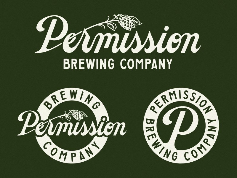 Permission Brewing Company brewery beer vector logo typography vintage traditional hand drawn hand lettering branding lettering type handmade drawing graphic design design illustration