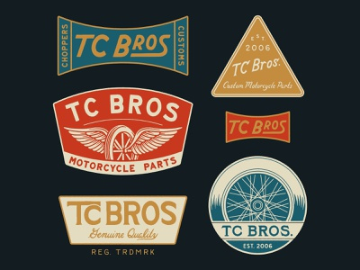 TC Bros. Choppers icon vector logo typography apparel chopper vintage traditional hand drawn hand lettering branding lettering type handmade drawing graphic design design illustration